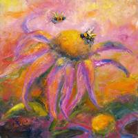 Coneflower Blossom & Bees Oil Painting by Ginette