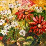 Container Flowers in My Garden Oil Painting by Gin Posters