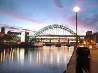 Sunset aglow behind the Tyne Bridge
