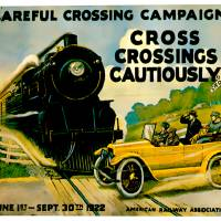 """""""Careful Crossing Campaigh Vintage Auto Ad"""" by Johnny-Bismark"""