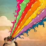 Perturbed Rainbow Vomiting Panda by Derek Chatwood