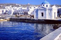 Harbour with Churches, Mykonos, Greece 1960 by Priscilla Turner
