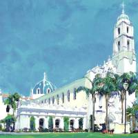 USD San Diego The Immaculata painting by Riccoboni Art Prints & Posters by RD Riccoboni