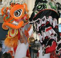 chinese new year dancers.