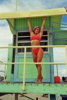 Kim Hartt posing on Life Guard House