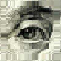 Ben franklin eye on 100 dollar bill pixelated