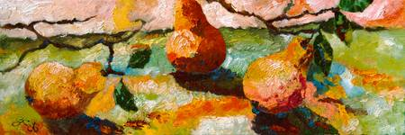 Three Pears Oil Painting by Ginette Callaway
