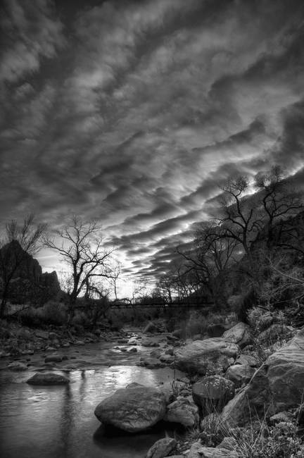 Winter Sky Over Virgin River in black and white by Jim Crotty