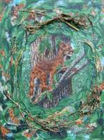 Jungle Cat Collage Two Painting