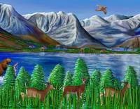 Mountains, Lake, and Wildlife