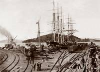 Oakland long Wharf over 10,000' into the bay c1870 by WorldWide Archive