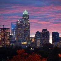 """Charlotte Skyline at Sunset"" by WillamorMedia"