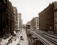 Wabash Ave Elevated Train, Chicago c1900