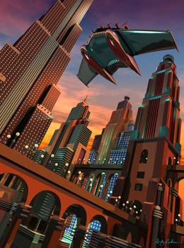 Retro Futuristic Fantasy Cityscape 1 By Andy Lackow