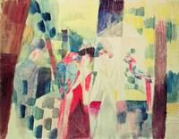 Two Women and a Man with Parrots by August Macke