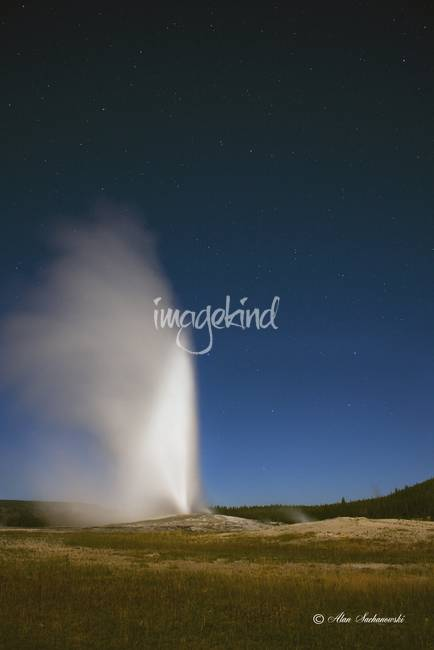 Old Faithful by Moonlight