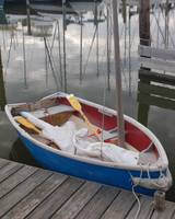 Sailing dinghy at the dinghy dock