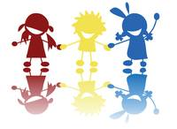 Colored children silhouettes holding hands