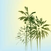 Summer holiday card, stylized palm trees