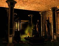 darkened temple interior