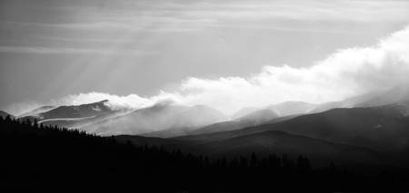 Tenmile Range Clouds (Black and White Dramatic)