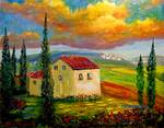 Old Tuscany Farmhouse by Mazz Original Paintings
