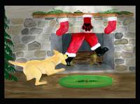 Yellow Lab Tugs Santa Christmas Eve