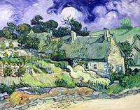 Thatched cottages at Cordeville by Van Gogh