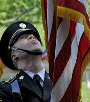 Military Color Guard Adjust American Flag