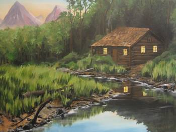 Log Cabin By The Stream By Christopher Cofrancesco