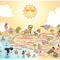 Wider Detailed Cartoon Map of Southern California Art Prints & Posters by Dave Stephens