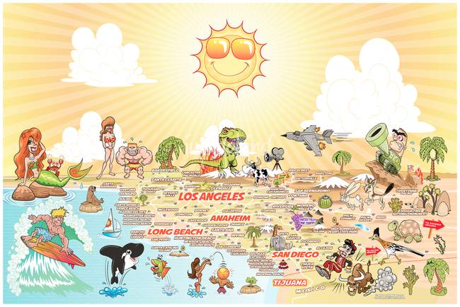 California Map Cartoon.Wider Detailed Cartoon Map Of Southern California By Dave Stephens