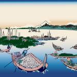 Hokusai Tsukuda Island in Musashi Province by Leo KL