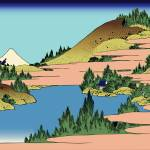 Hokusai The lake of Hakone in Sagami Province by Leo KL