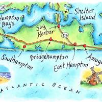 """Hamptons, NY Map"" by jenniferthermes"