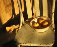 Old chair, vintage bowl with apples