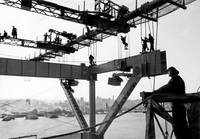 Steel Workers during Bay Bridge Construction c1935 by WorldWide Archive