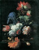 Verelst Opium Poppy and Other Flowers in a Vase