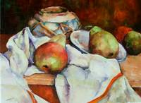 Still Life of Jar & Apples
