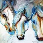"""""""3 WILD HORSES in ABSTRACT"""" by MBaldwinFineArt2006"""