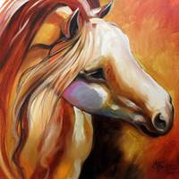 IN THE MISTY MOONLIGHT EQUINE ABSTRACT by Marcia Baldwin