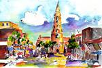 Charleston North Market Street & Church by Ginette Posters