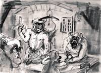 The Banana Eaters Charcoal Sketch for Oil Painting