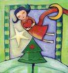 Angel flying over the Christmas tree Posters