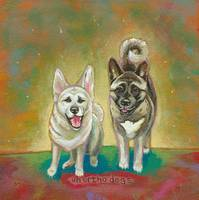 Unorthodogs - fun Akita dog painting art