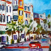 King Street Shopping Charleston SC oil Painting Art Prints & Posters by Ginette Callaway