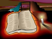 Book of holy spirit in the light of candle