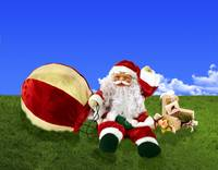 Snowman Santa Claus with balloon 3