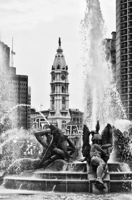 Logan Circle Fountain in Black and White