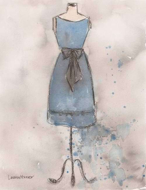 Vintage Blue Grey Linen Dress